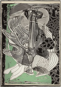fossil whale (from moby dick engravings) by frank stella