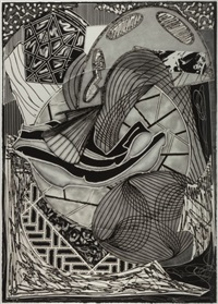 the cabin, ahab and starbuck (from moby dick engravings) by frank stella
