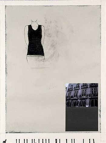 woman, house, stone grey and cream by julião sarmento
