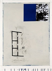 house, plant, navy blue and cream by julião sarmento