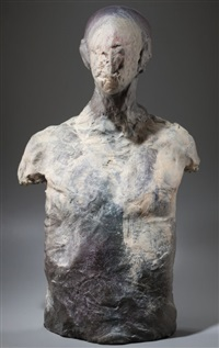 man with mummified face by stephen de staebler