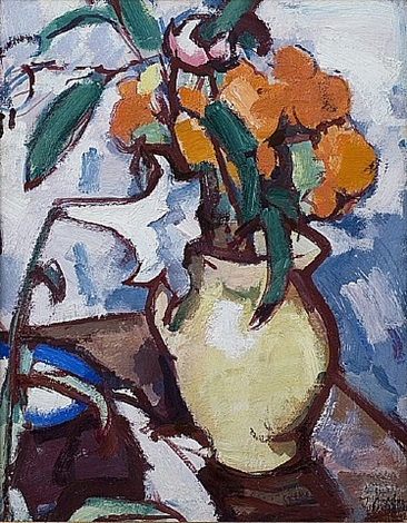 a still life of marigolds by samuel john peploe