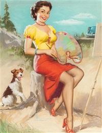 the model as an artist, shaw-barton calendar illustration by knute o. munson