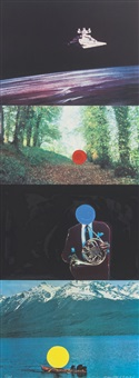 a french horn player, a square blue moon and other subjects by john baldessari