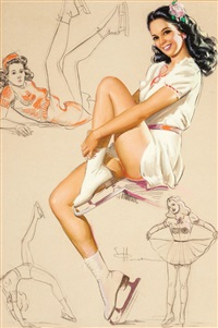 pin-up on skates, artist's sketch pad calendar illustration by knute o. munson
