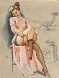 pin-up in stockings by knute o. munson
