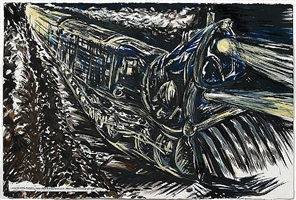 no title (going in a) by raymond pettibon