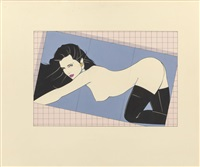 posing in thigh high boots, probable playboy illustration by patrick nagel
