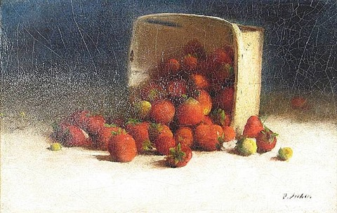 strawberries spilling out of an overturned box by joseph decker