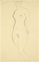 standing nude by gustav klimt