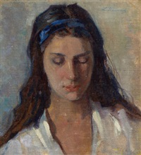 portrait of a young girl by leopoldo romanach