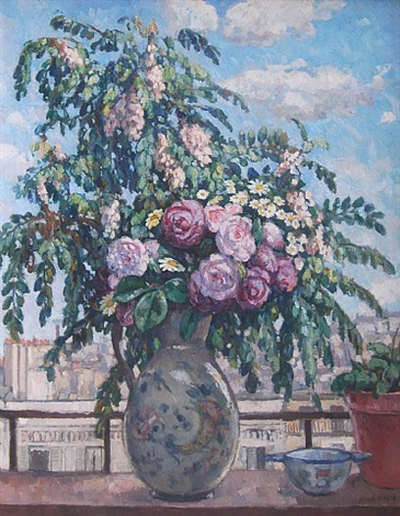 the bouquet (view from the artist's studio, paris.) by albert andré