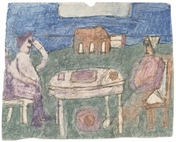 untitled (two figures seated at a table) by james castle