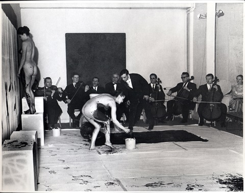 yves klein performance anthropometries of the blue period by harry shunk