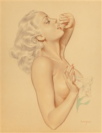 nude with lily flower by alberto vargas