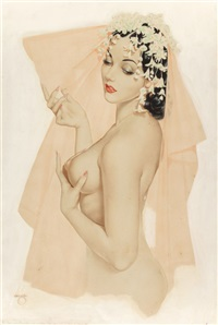 vargas girl in wedding veil by alberto vargas