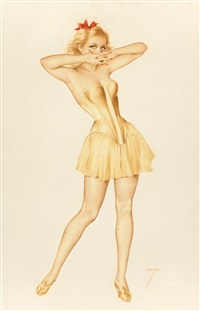 vargas girl in a yellow bustier, the vargas girl calendar illustration, october by alberto vargas
