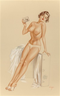 he said that niagara falls is a source of power, playboy illustration, june by alberto vargas
