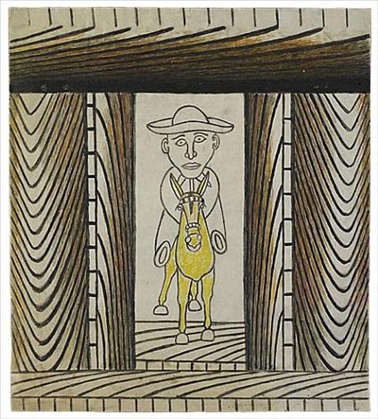 untitled (man riding yellow donkey) by martín ramírez