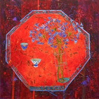 agapanthus and saffron table by sue fitzgerald