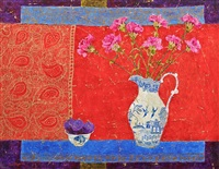 blue fish and willow pattern by sue fitzgerald