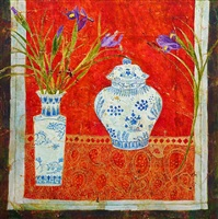 irises and golden thread by sue fitzgerald