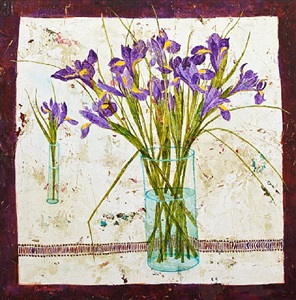 irises and white linen by sue fitzgerald