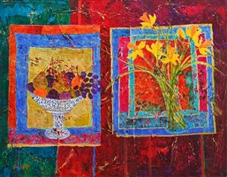 daffodils and redcurrants by sue fitzgerald