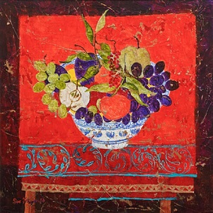 clementines and red silk by sue fitzgerald