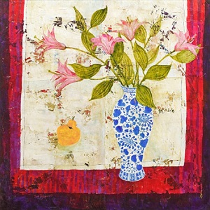 quince and white lilies by sue fitzgerald
