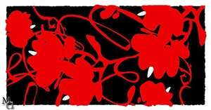 lantern flowers red, feb 17, 2012, 2012 by donald sultan