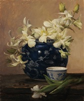 white orchids in blue and white by grace mehan devito