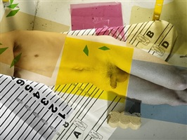 fuchsia, yellow, green, blue, numbers, man, cement, paper by michele abeles