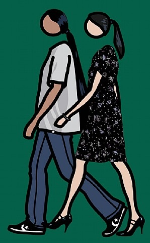 kris and verity walking by julian opie