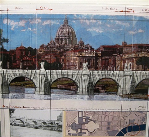 pont sant' angelo, wrapped (project for rome), by christo and jeanne-claude