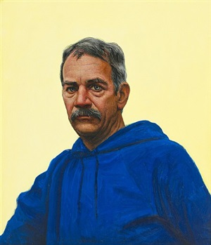 self portrait in blue hooded sweatshirt by gregory joseph gillespie