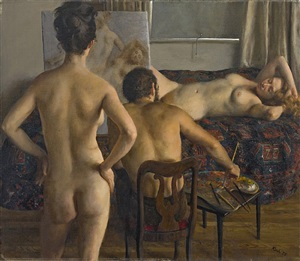 two models and the artist by john koch