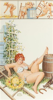 hilda takes a fall, brown & bigelow calendar illustration, december by duane bryers