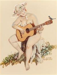 hilda playing the guitar, brown & bigelow calendar illustration by duane bryers