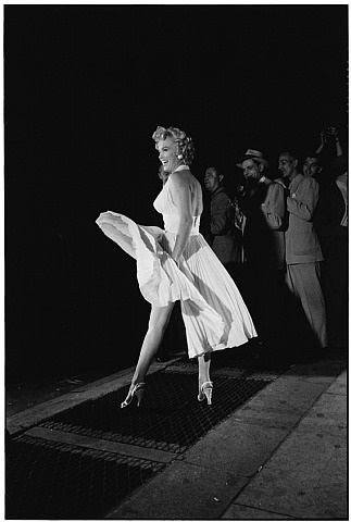 marilyn monroe on the set of the seven year itch, new york, 1954 by elliott erwitt