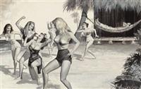 nine battling brides on shipwreck island, man's day magazine story illustration, february by john duillo