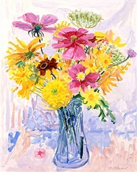 bouquet with cosmos and marigolds by nell blaine