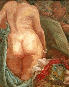 selbstportrait mit akt selfportrait with nude by george grosz