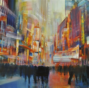 nyc, times square- street life (sold) by david allen dunlop
