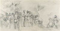 sketch no.3 for 'joining of the forces at jinggang mountain' by lin gang