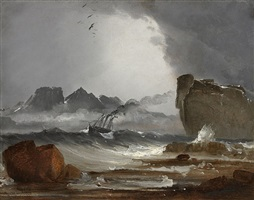 stormy sea with a steamer in distress by peder balke