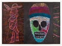 la mascara ceremonial y la figura, para posada triptych by rupert garcia
