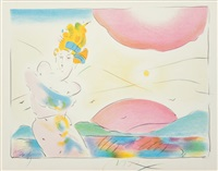 study of figure and sunrise by peter max