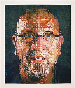 self - portrait screenprint 2012 by chuck close