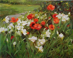 white iris and poppies (sold) by kathy anderson